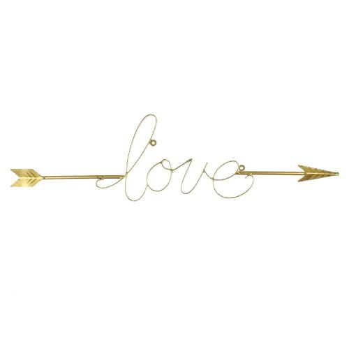 Large Gold Finish Scripted Word 'Love' Wall Art Sculpture Home Decoration Love